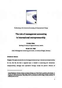 The role of management accounting in international entrepreneurship ...