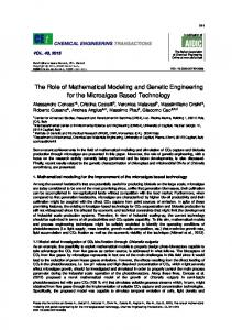 The Role of Mathematical Modeling and Genetic Engineering for the ...