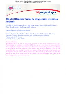 The role of Matriptase-2 during the early postnatal ...