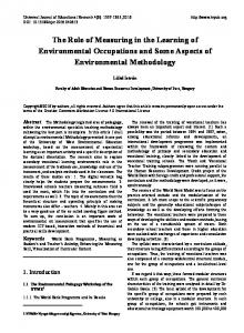 The Role of Measuring in the Learning of Environmental ... - Eric