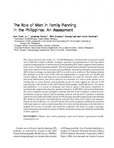 The Role of Men in F The Role of Men in Family Planning ... - CiteSeerX