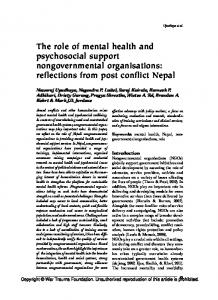 The role of mental health and psychosocial support nongovernmental ...