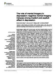 The role of mental imagery in depression: negative mental imagery ...
