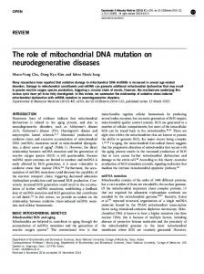 The role of mitochondrial DNA mutation on ... - Semantic Scholar