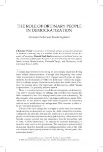 The Role of oRdinaRy PeoPle in democRaTizaTion