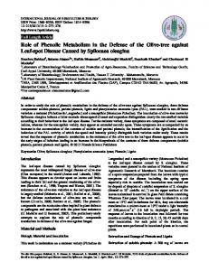 The role of phenolic metabolism in the defense of the olive-tree to the ...