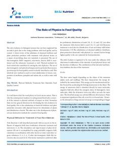 The Role of Physics in Food Quality - Bio Accent