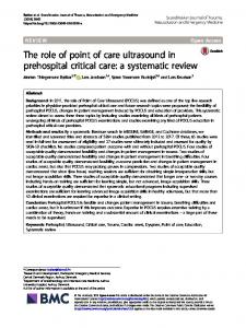 The role of point of care ultrasound in prehospital critical care: a ...