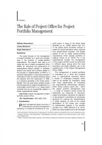 The Role of Project Office for Project Portfolio Management