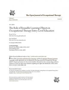 The Role of Reusable Learning Objects in Occupational Therapy Entry ...
