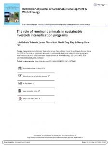 The role of ruminant animals in sustainable livestock ...