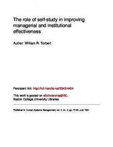 The role of self-study in improving managerial ... - eScholarship@BC