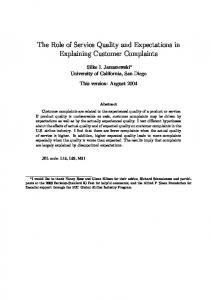 The Role of Service Quality and Expectations in Explaining Customer ...