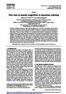 The role of social cognition in decision making - BioMedSearch