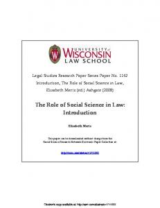 The Role of Social Science in Law: Introduction - SSRN papers