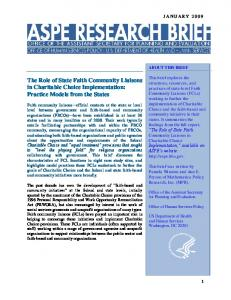 The Role of State Faith Community Liaisons in Charitable Choice ...