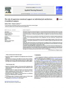 The role of supervisor emotional support on individual ...