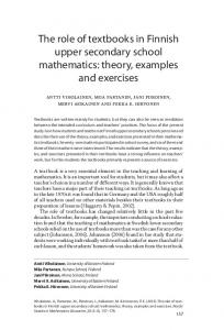 The role of textbooks in Finnish upper secondary school mathematics