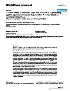 The role of the carotenoids, lutein and zeaxanthin, in protecting ...