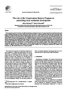 The role of the Conservation Reserve Program in controlling rural ...