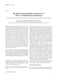 The Role of the Insulin-like Growth Factor 1 (IGF-1) in Skeletal ... - In Vivo