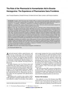 The Role of the Pharmacist in Humanitarian Aid in ...