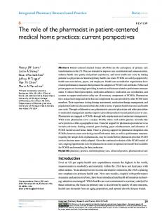 The role of the pharmacist in patient-centered medical ...