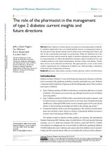The role of the pharmacist in the management of type