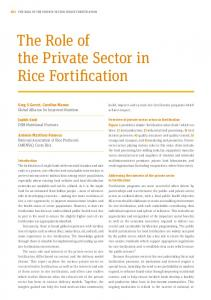 The Role of the Private Sector in Rice Fortification