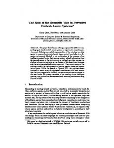 The Role of the Semantic Web in Pervasive ... - Semantic Scholar