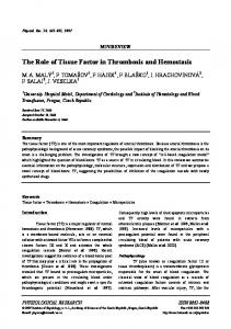 The Role of Tissue Factor in Thrombosis and Hemostasis