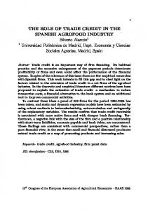THE ROLE OF TRADE CREDIT IN THE SPANISH ... - AgEcon Search
