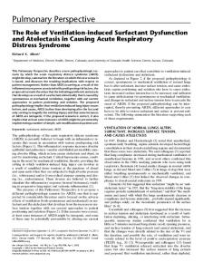 The Role of Ventilation-induced Surfactant Dysfunction ... - ATS Journals