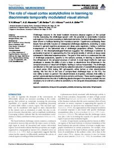 The role of visual cortex acetylcholine in learning to ... - Frontiers