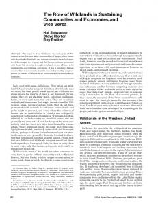 The Role of Wildlands in Sustaining Communities and Economies and ...