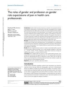 The roles of gender and profession on gender role ...
