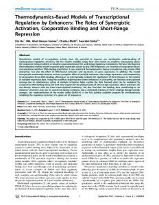 The Roles of Synergistic Activation, Cooperative ... - Semantic Scholar