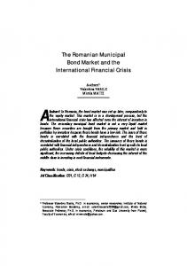 The Romanian Municipal Bond Market and the International Financial ...