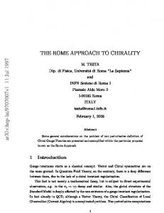 THE ROME APPROACH TO CHIRALITY
