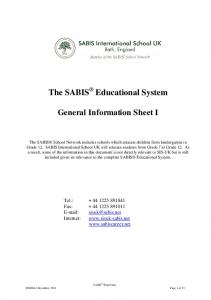 The SABIS Educational System General Information Sheet I - The TES