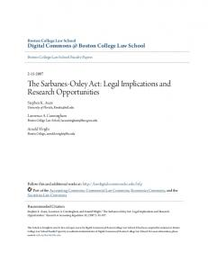 The Sarbanes-Oxley Act - Digital Commons @ Boston College Law ...