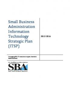 The SBA Strategic Plan - Small Business Administration