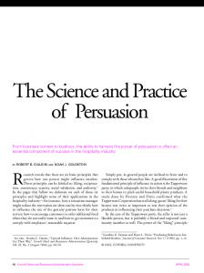 The Science and Practice of Persuasion - Influence at Work