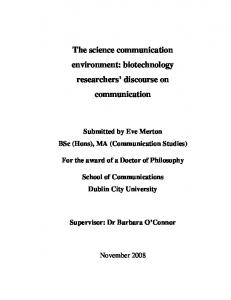 The science communication environment: biotechnology ...