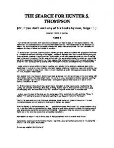 THE SEARCH FOR HUNTER S. THOMPSON