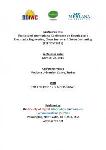 The Second International Conference on Electrical ...