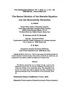 The Second Solution of the Hermite Equation and the ... - Hikari