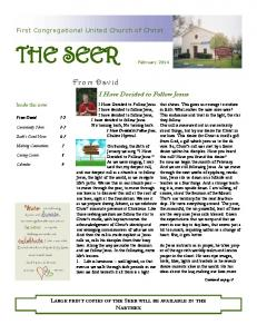 THE SEER - First Congregational United Church of Christ