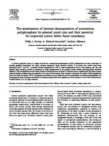 The sensitisation of thermal decomposition of ...
