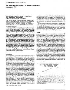 The sequence and topology of human complement - Europe PMC